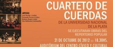 CUARTETO DE CUERDAS: Hoy domingo 21 de Octubre con entrada libre y gratuita  desde las 18:30 horas en el Auditorium.