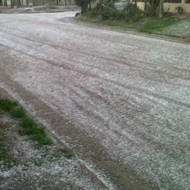 Cayó agua nieve en la vecina ciudad de  9 de Julio