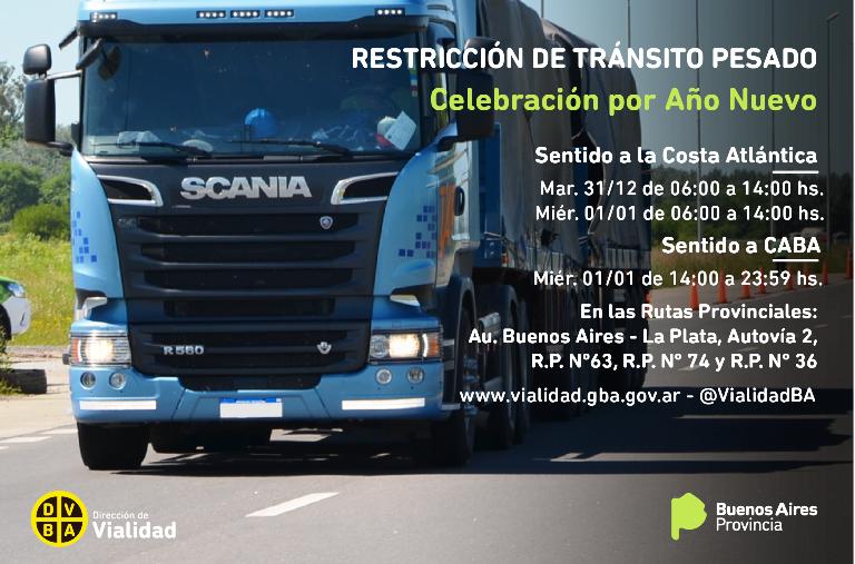 Restricción de camiones por la celebración del Año Nuevo