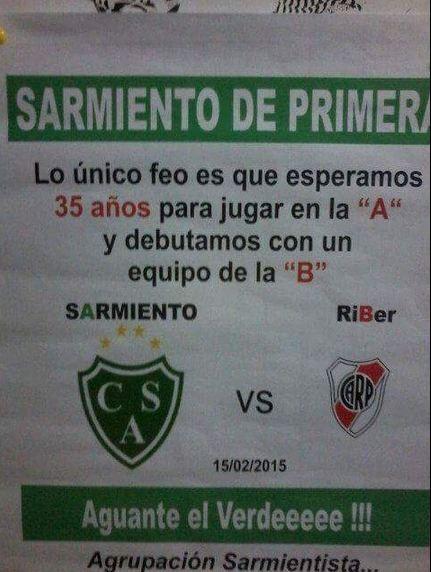 Tremenda chicana: Sarmiento recibe a River con un afiche muy picante