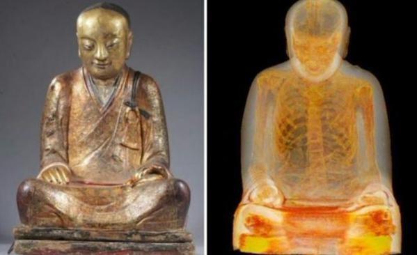 Hallan una momia de 1000 años dentro de una estatua de Buda