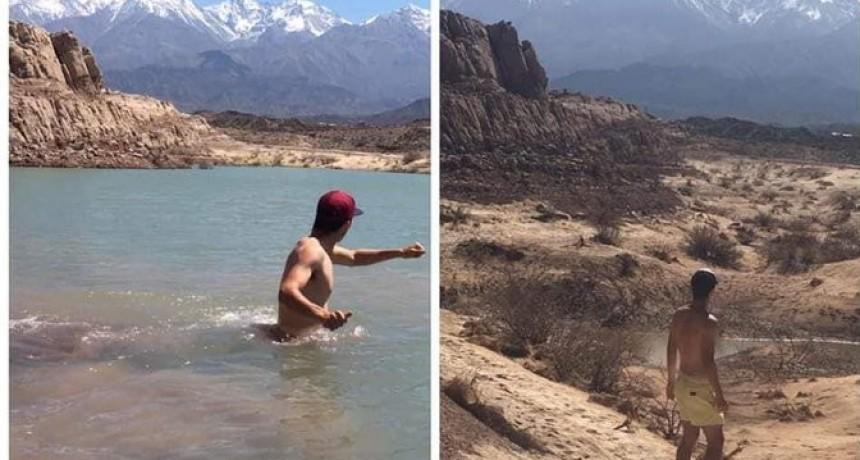 Escenario que preocupa.  Dramática foto de un lago que alarma a un pueblo mendocino