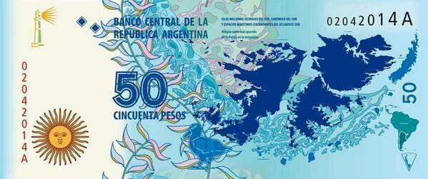 Emitirán billete de $50 con la imagen de las Islas Malvinas