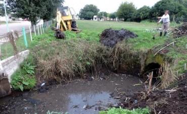 Se realizan tareas de limpieza en canales de la localidad