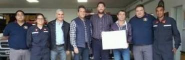 Massa visitó el cuartel de Bomberos de Los Toldos
