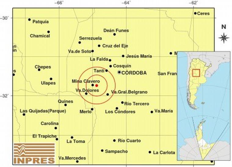Movimiento telúrico.  Un temblor sacudió este domingo las sierras de Córdoba