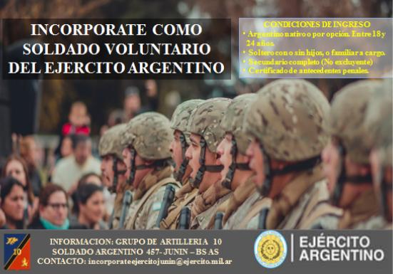 Se ha iniciado la inscripción para incorporarse como Soldados Voluntario del Ejército Argentino.