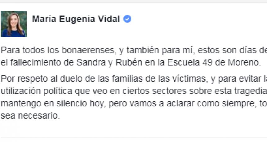 Vidal explicó su silencio tras la tragedia de Moreno