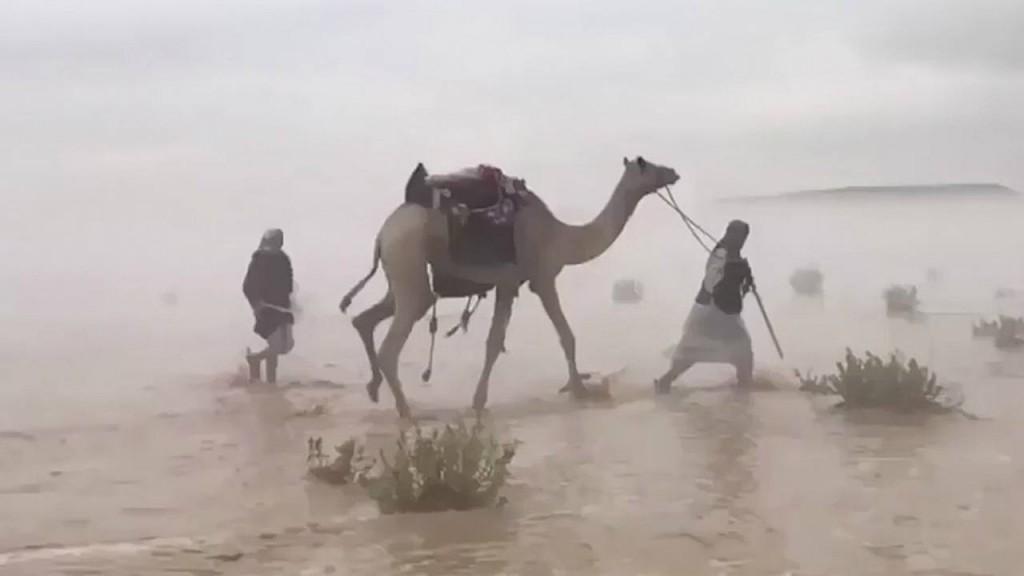 Insólita inundación en el desierto de Arabia Saudita