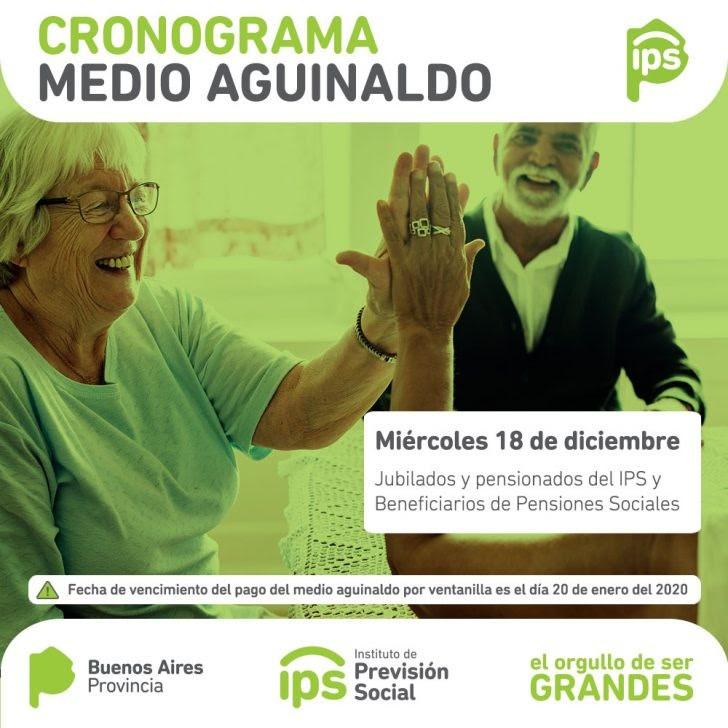 JUBILADOS PROVINCIALES | Cronograma de pago AGUINALDO diciembre 2019