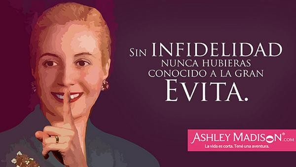 Polémica publicidad con la imagen de Evita de una red social para infieles